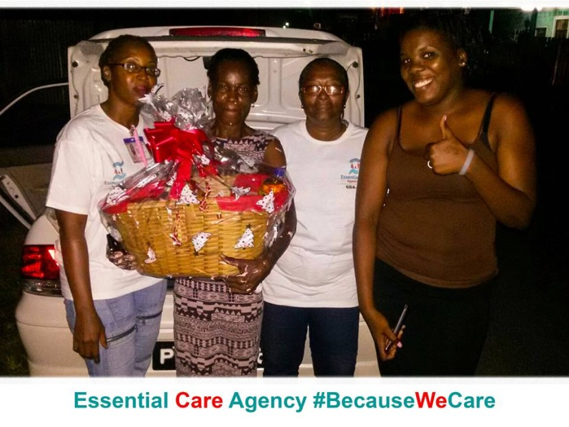 Our Care Supervisor and Care worker giving a food hamper to a deserving Guyanese family